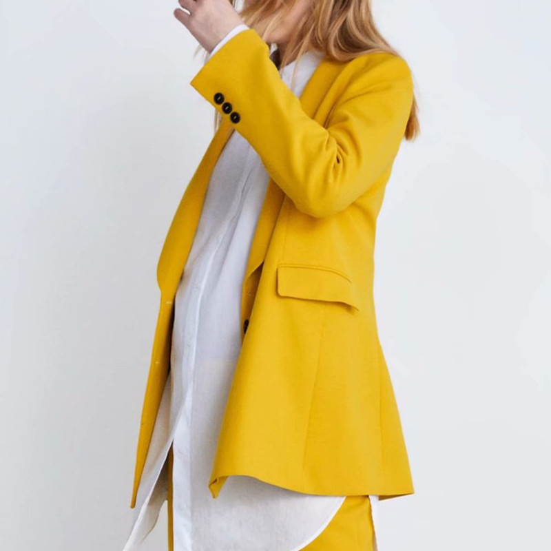 2019 New Woman Boyfriend Yellow Double-Breasted Blazer Jacket Casual Vintage Notched Collar Loose Long Suit Outerwear thumbnail