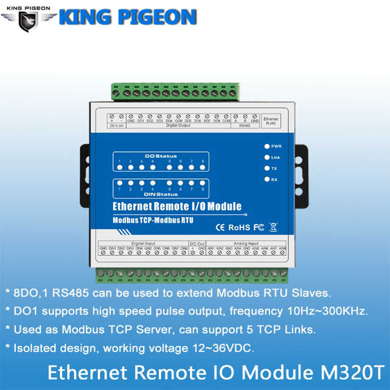 Modbus TCP RTU Module RJ45 Ethernet Remote IO with 8 Relay Outputs Isolated Design 12-36V DC M320T