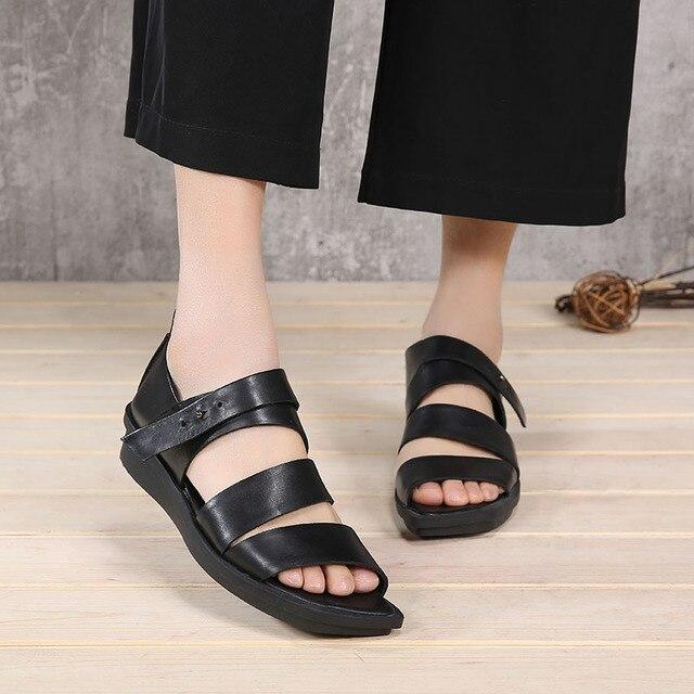 7aec64da4 VALLU 2018 Women Gladiator Sandals Flat Platform Genuine Leather Strap Open  Toes Summer Shoes Women Sandals Black Plus Size