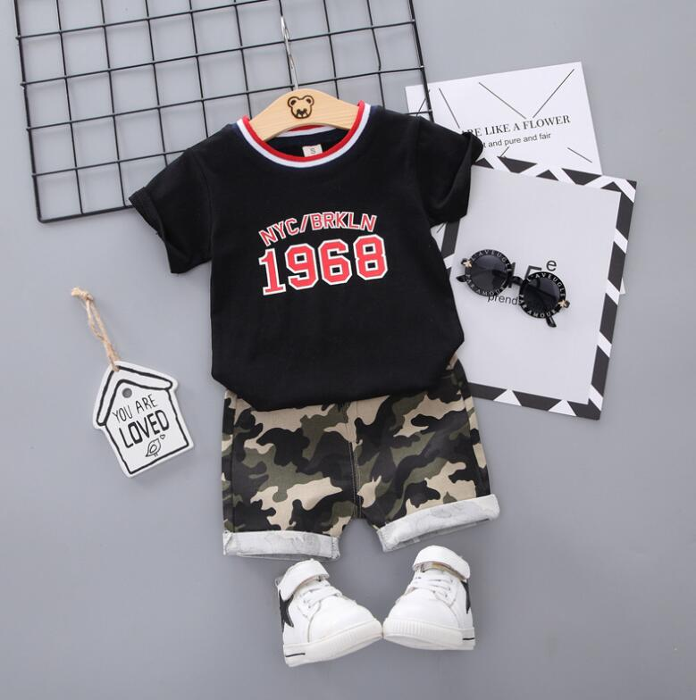 288ab37717807 Korean camouflage print Toddler Boys Clothes Summer 2019 Boutique Kids  Clothing sets Little Boy Clothes T