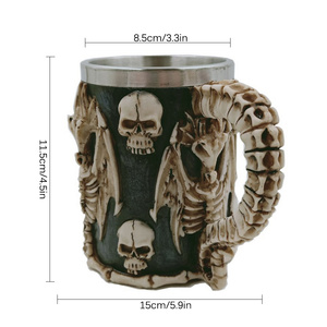 Image 5 - Skull Dragon Resin Stainless Steel Beer Mug Retro Knight Tankard Halloween Coffee Cup Creative Viking Tea Mug Pub Bar Decoration