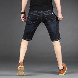 QUANBO Новое поступление, летние мужские эластичные короткие джинсы, брендовая одежда, модные Молодежные тонкие джинсовые шорты, большие