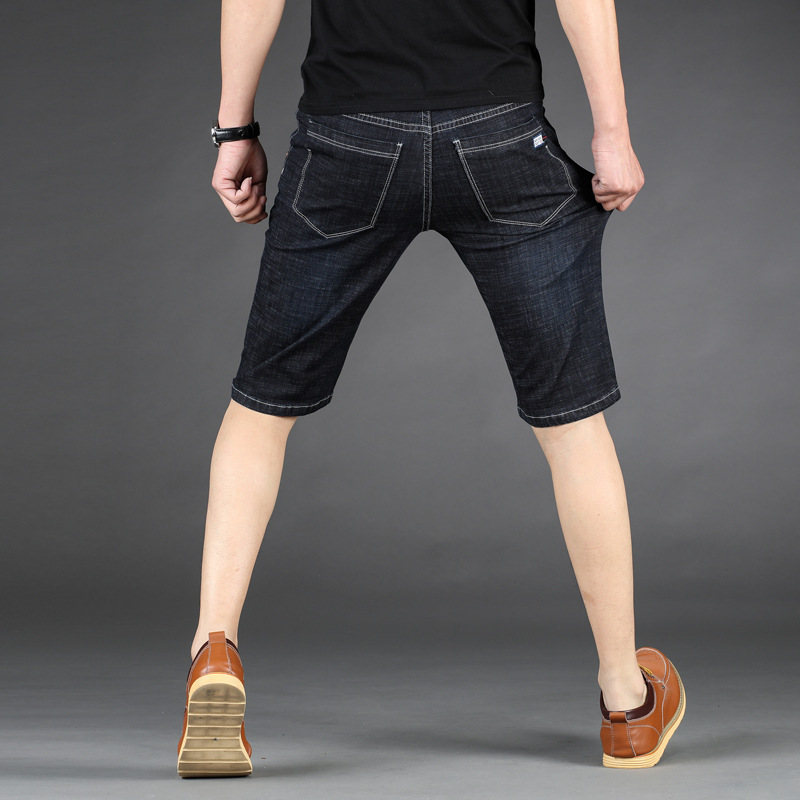 QUANBO Summer New Arrival Men's Elasticity Short   Jeans   Brand Clothing Fashion Youth Thin Denim Shorts Plus size Black Blue 44