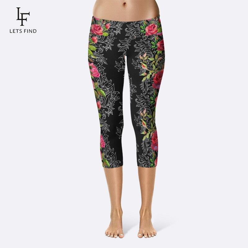 2019 Women High Quality Capri Leggings High Waisted Flower Print Pants Fitness Mid-Calf Elastic Comfortable Black Leggings