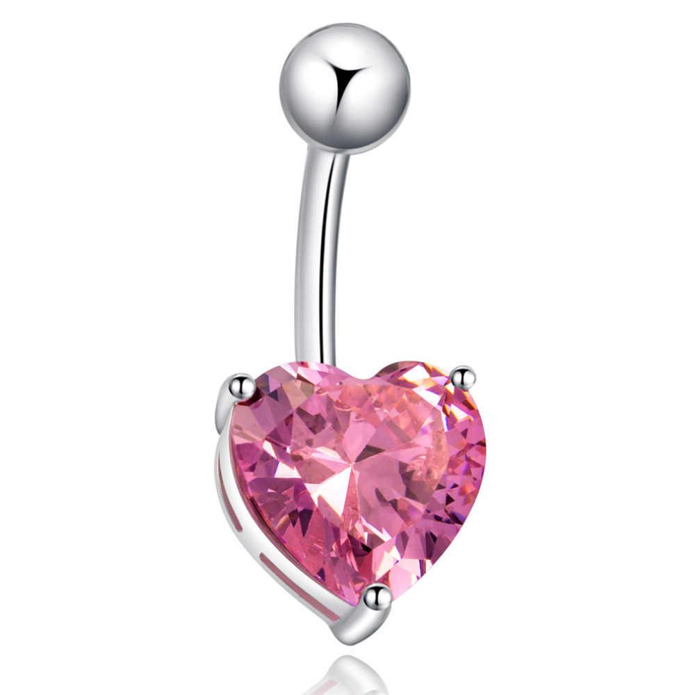 Gussiarro Navel Belly แหวนหัวใจสีขาวสีชมพูสีม่วง Cubic Zirconia/สีขาว-สีแฟชั่นเครื่องประดับ Body