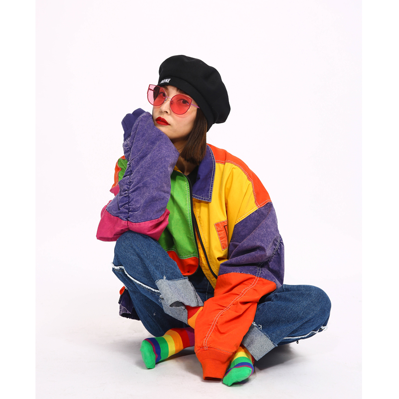 De Automne Survêtement Rétro Oversize Mode Patch Designs Femmes Harajuku Lâche Manteau Femelle Veste Printemps Rue Couture Coloré fRngTwXgq