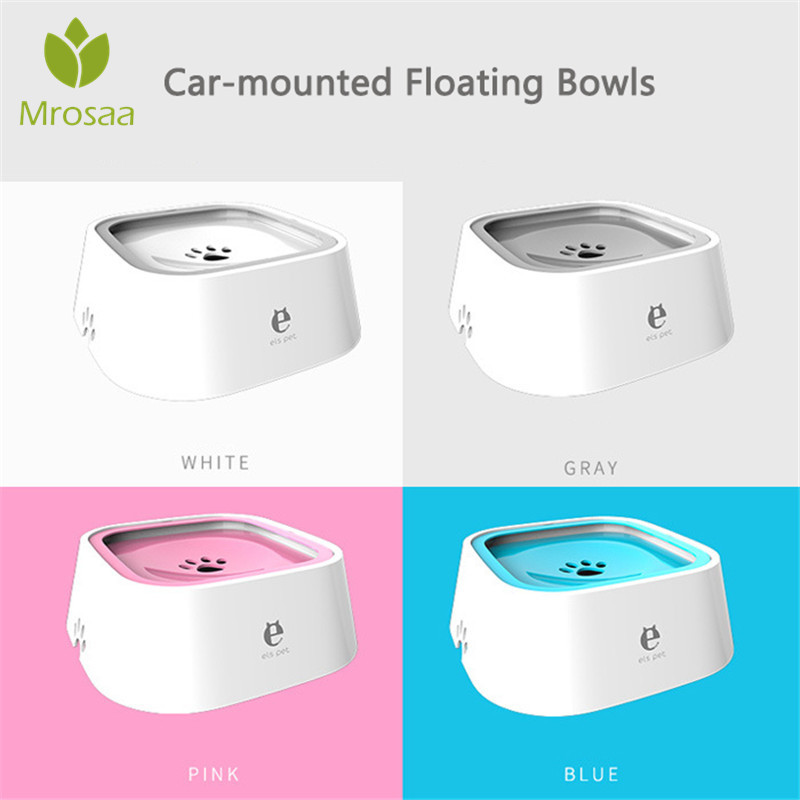 Mrosaa 1500ml Pet Dog Bowls Floating Not Wetting Mouth Cat Bowl No Spill Drinking Water Feeder Plastic Portable Dog Bowl