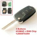 3 Botões Virar Chave Remota 1J0 959 753 AH Com ID48 Chip de 433 MHZ Para 2002-2005 VOLKSWAGEN PASSAT