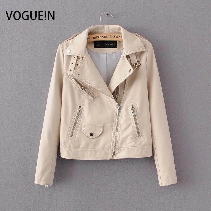 VOGUE!N New Womens Soft Faux   Leather   Slim Motorcycle Zipper Jacket Lapel Short Coat Outerwear Black/Beige 2 Colors