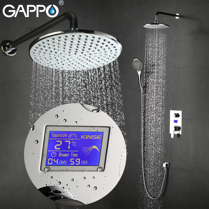 GAPPO Wall Mounted bathroom shower faucet Chrome LCD Digital Temperature shower tap mixer Torneira de chuveiro shower system china sanitary ware chrome wall mount thermostatic water tap water saver thermostatic shower faucet