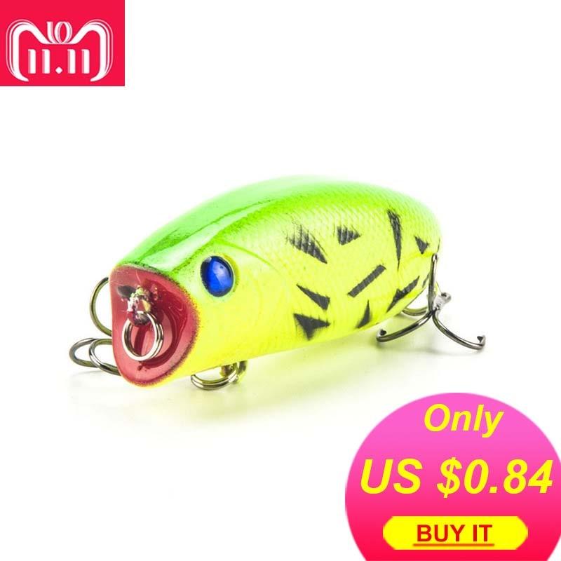 цена New Arrival 1pcs 11g 5.5cm Big Popper Fishing Lures 3D Eyes Bait Crankbait Wobblers Tackle Isca Poper Japan HQ007