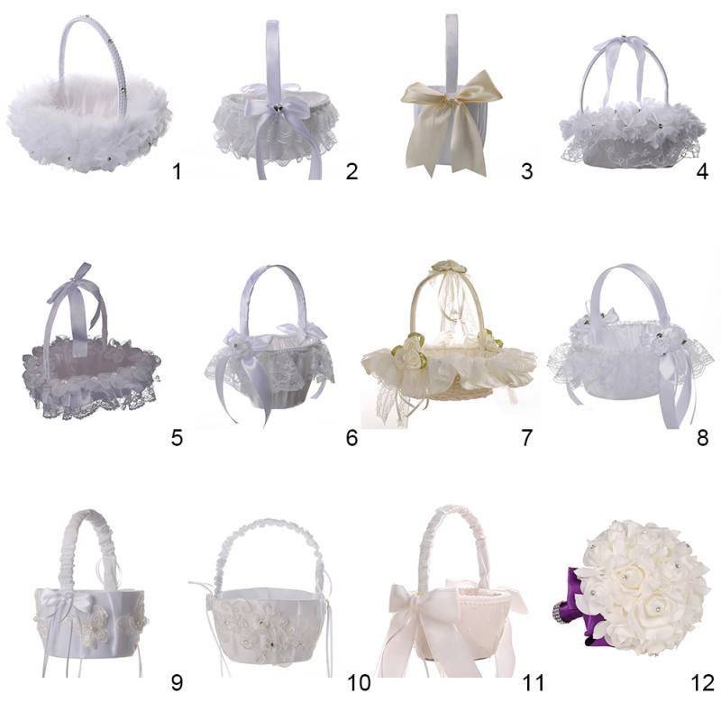 Basket Flower Wedding-Day-Collection Rose-Petals-Holder for Party Decorative Satin Girl