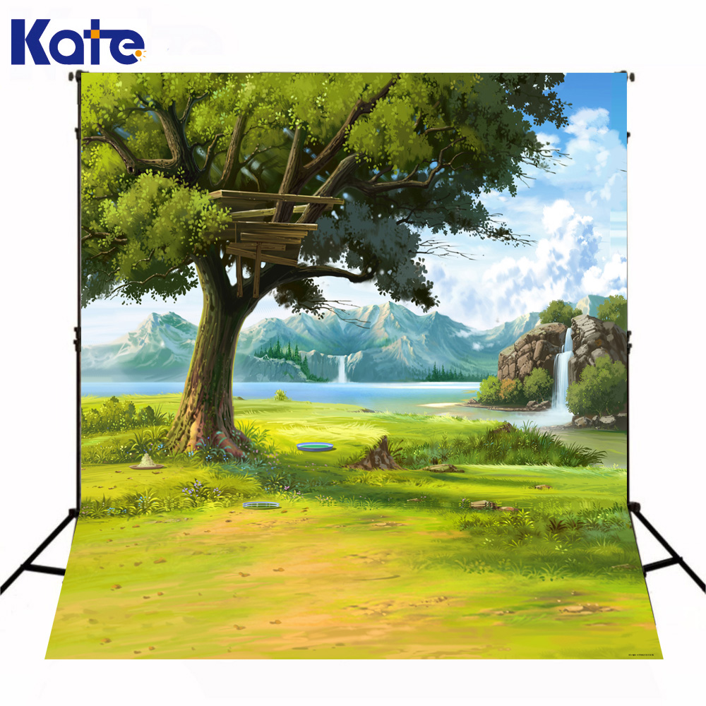 200*300cm Kate Photography Backdrops Background Photo Field Trees Mountains Rivers Clouds Green Grass for Weeding kate photo background dream field