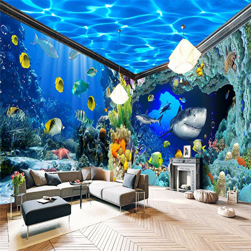 Beibehang underwater world aquarium theme backdrop custom for Fish tank bedroom ideas