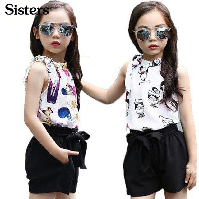Meisjes Kinderkleding.Zusters Meisjes Kleding Set Chiffon Dot Vest En Shorts Zomer Cartoon