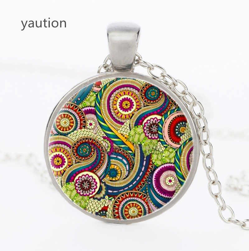 Silver plated for gilrs colorful Mandala necklace indian Om henna yoga pendants glass pendant Buddhism Spiritual jewelry