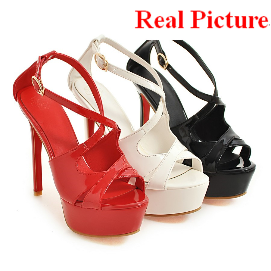 ФОТО 2017 Retro style EUR shoe size 40 41 42 43 44 45 46 47 48 peep toe WOMEN SANDALS buckle strap lady summer shoes free shipping