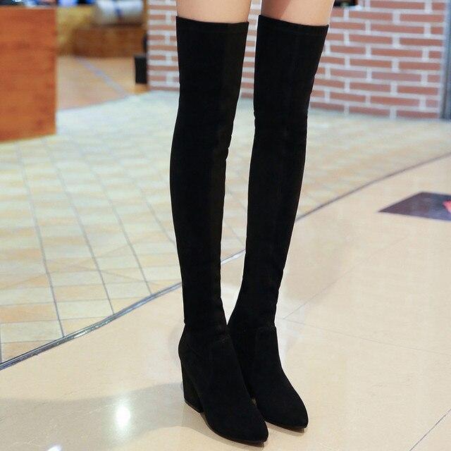 Mulheres Estiramento Magro Faux Suede Magro Coxa Bota Alta Sexy Moda sobre o Joelho Botas de Salto Alto Sapatos de Mulher Preto Cinza mujer Botas