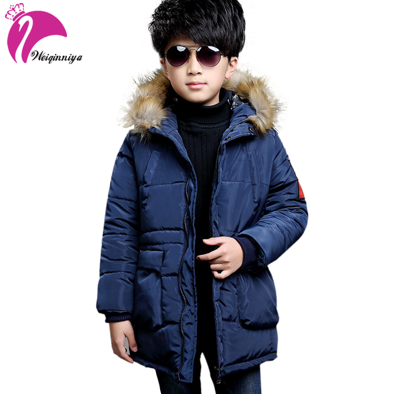 weiqinniya Boys Down Parkas Jackets Winter Down Coat For Boy Fashion Children Parka Fur Hooded Jacket For Boy Kids Thick Jackets цена 2017