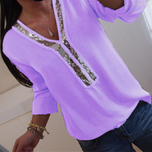 Women Sexy V-neck Sequins Chiffon Blouse Shirt Spring Summer Elegant Office Lady Blouses Tops Plus Size S-5XL blusa feminina