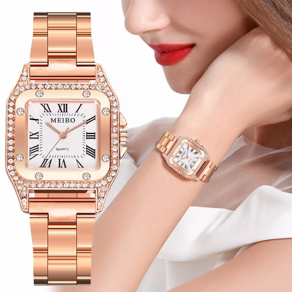 Hot Fashion Women Stainless Steel Rhinestone Watch Luxury Ladies Analog Quartz Diamond Watches MEIBO Brand Dropshipping Clock