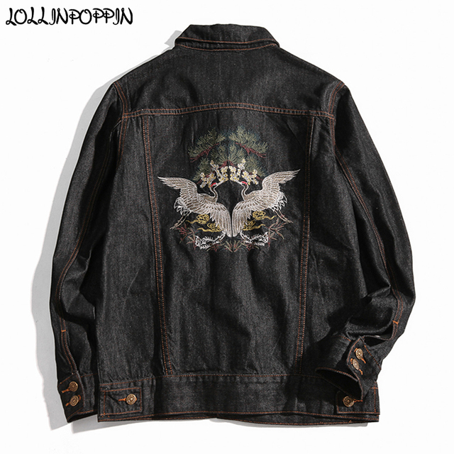 8454f90a01b Japan Style Harajuku Mens Crane Embroidery Jean Jacket Turn Down Collar  Plus Size Black Denim Jackets