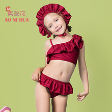 AONIHUA Designer Brand 2-12 years 3pcs Ruffles Swimsuit Girls kids 2017 Off shoulder Children baby swimsuit summer bikini set
