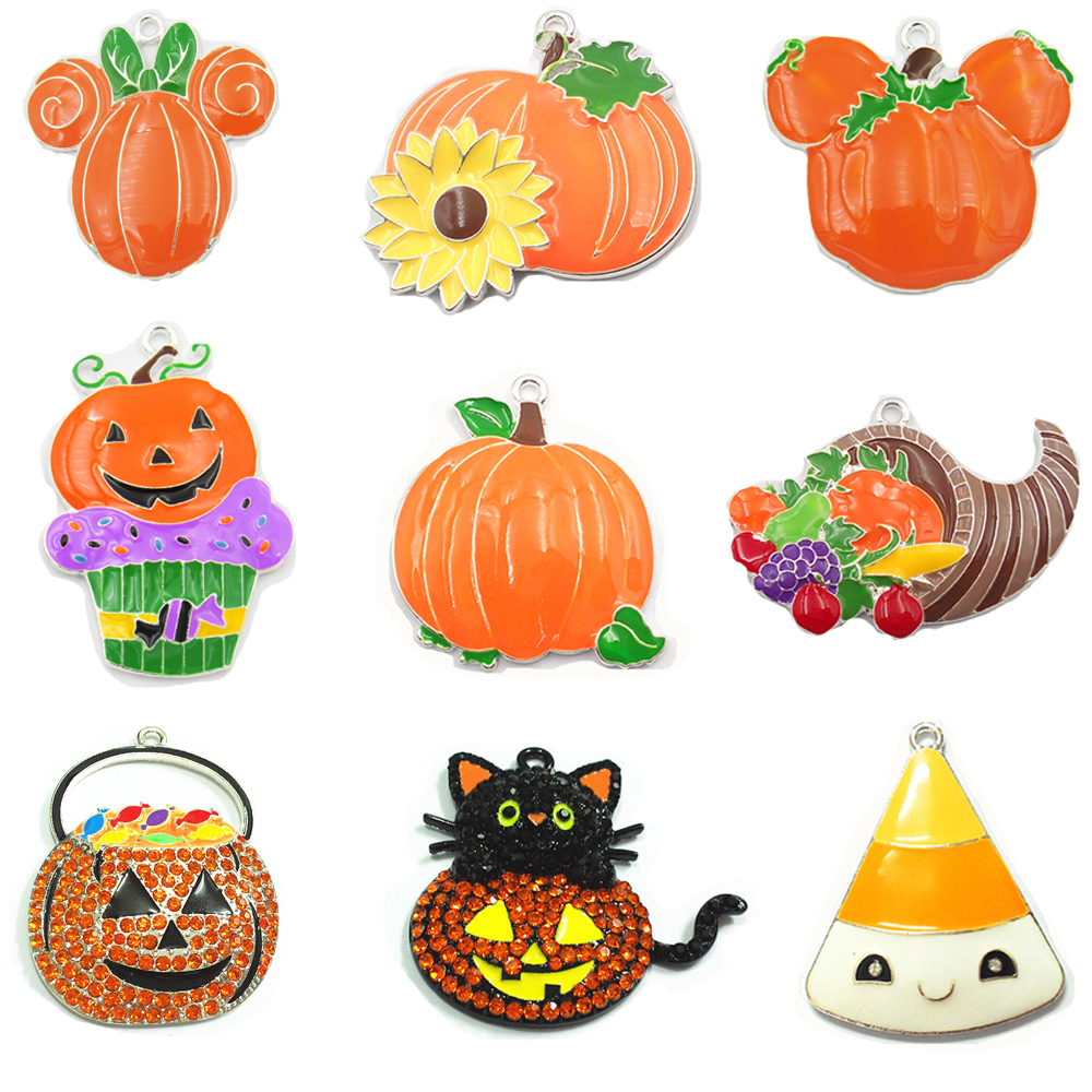 10pcs/bag  Halloween Series Of Products : Chunky Rhinestone/Enamel Witch,Cupcake,Ghost,Pumpkin Basket /Cat Pendant