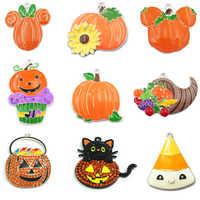 10pcs/bag Halloween Series Of Products : Chunky Rhinestone/Enamel Witch,Cupcake,Ghost,Pumpkin Basket /Cat Pendant