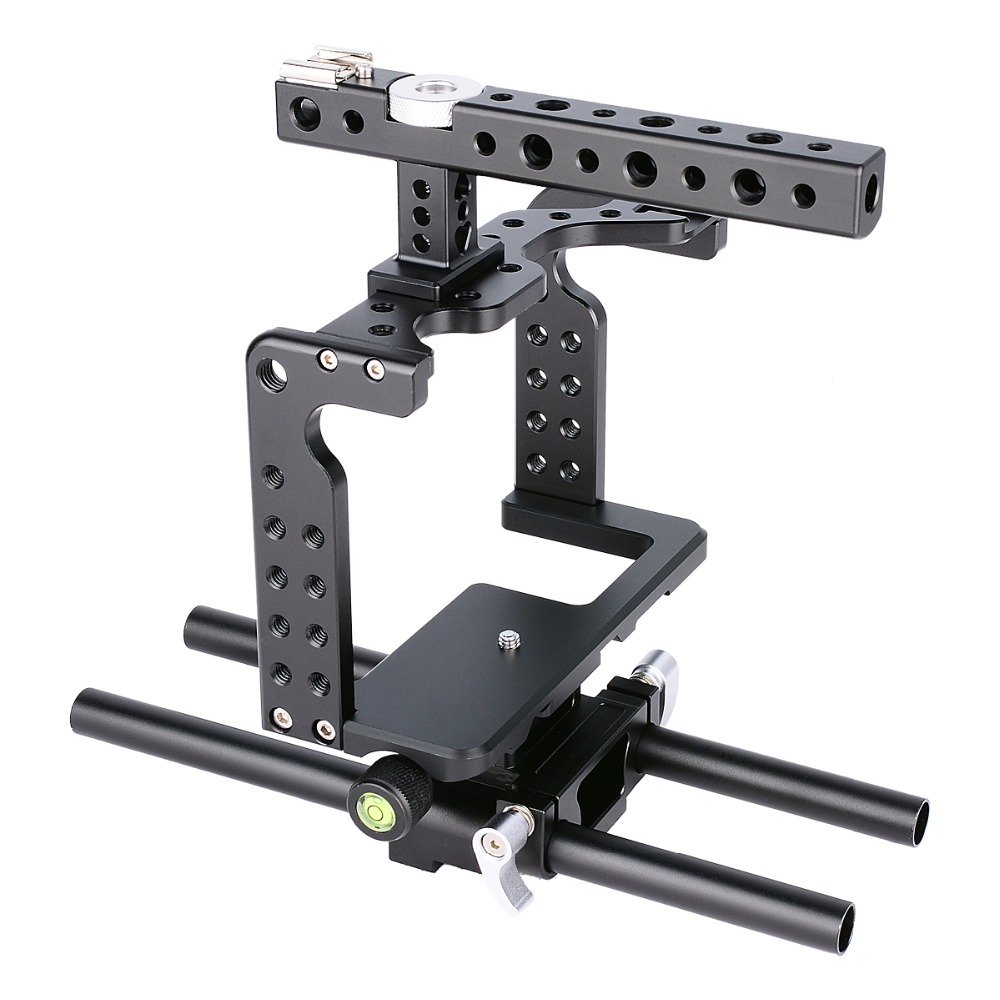 DSLR Camera Video Cage Rig Kit Stabilizer+Top Handle Grip for Sony DSLR Camera GH4 GH5 yelangu aluminum alloy camera video cage kit film system with video cage top handle grip matte box follow focus for dslr