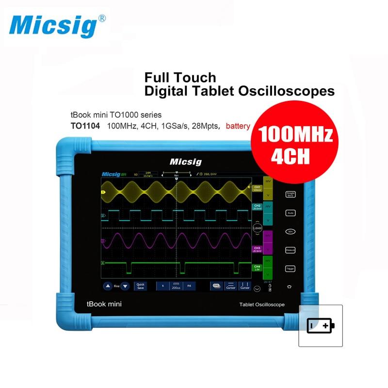 Micsig Digital Tablet Oscilloscope TO1104 100MHz 4CH 28Mpts Automotive diagnostic oscilloscope touchscreen handheld oscilloscope-in Oscilloscopes from Tools    1