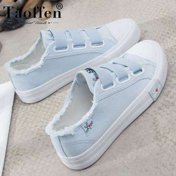 TAOFFEN Women Casual Shoes Fashion Solid Color Sweet Shallow Flats Daily Leisure Elastic Band Print Shoes Women Size 35-40