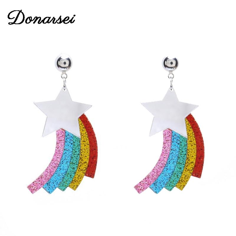 Donarsei 2019 New Fashion Rainbow Star Acrylic Earrings For Women Lovely Colorful Shining Rainbow Drop Dangling Earrings Party