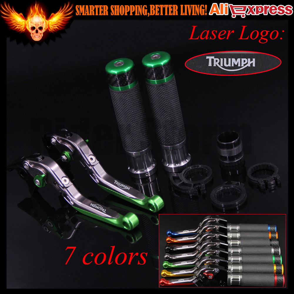 ФОТО 7 Colors Green+Titanium CNC Folding Extendable Motorcycle Brake Clutch Levers&Handlebar Hand Grips For Triumph AMERICA 2004 2005