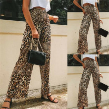 Fashion New Women High Waist Leopard Print Trousers Ladies Flare Bottom Casual Pants Hot