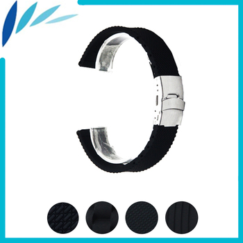 Silicone Rubber Watch Band 22mm for Samsung Gear 2 R380 / R381 / R382 Stainless Steel Clasp Strap Wrist Loop Belt Bracelet silicone rubber watch band 22mm 24mm for fossil stainless steel clasp strap wrist loop belt bracelet black spring bar tool