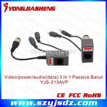10Pairs long distance CCTV passive video balun with power and audio input