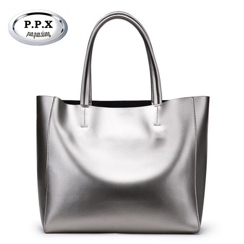 P.P.X Split Leather Composite Bag European And American Style Handbag Fashion Large Capacity Shopping Bag New Clutches M521