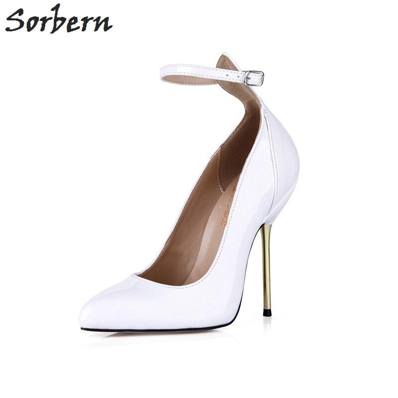 Sorbern tacones blancos Punta de puntera Vintage zapatos de mujer zapatos de baile tacones sexis correas de tobillo zapatos de moda personalizados 2018 de lujo para mujer