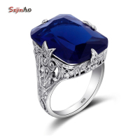 Szjinao Luxury Birthstone Square Engraved Ring Handmade Antique Sapphire Turkish Jewelry 100 925 Sterling Silver Wedding