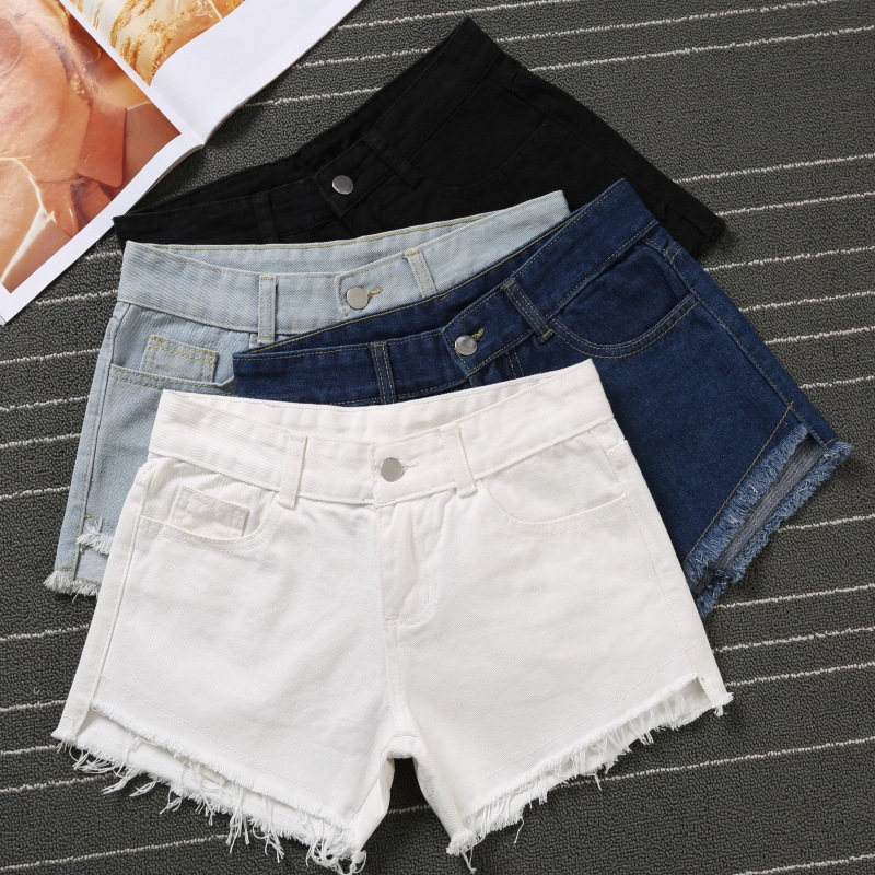 2017 Summer Cheap Shorts Women New Fashion Cotton Denim Shorts High Waist Elastic Tassel Jeans Shorts Female Casual Denim Shorts 2017 new fashion elastic high waist shorts feminino denim shorts for women slim pants blue jeans short plus size 34 cheap bands