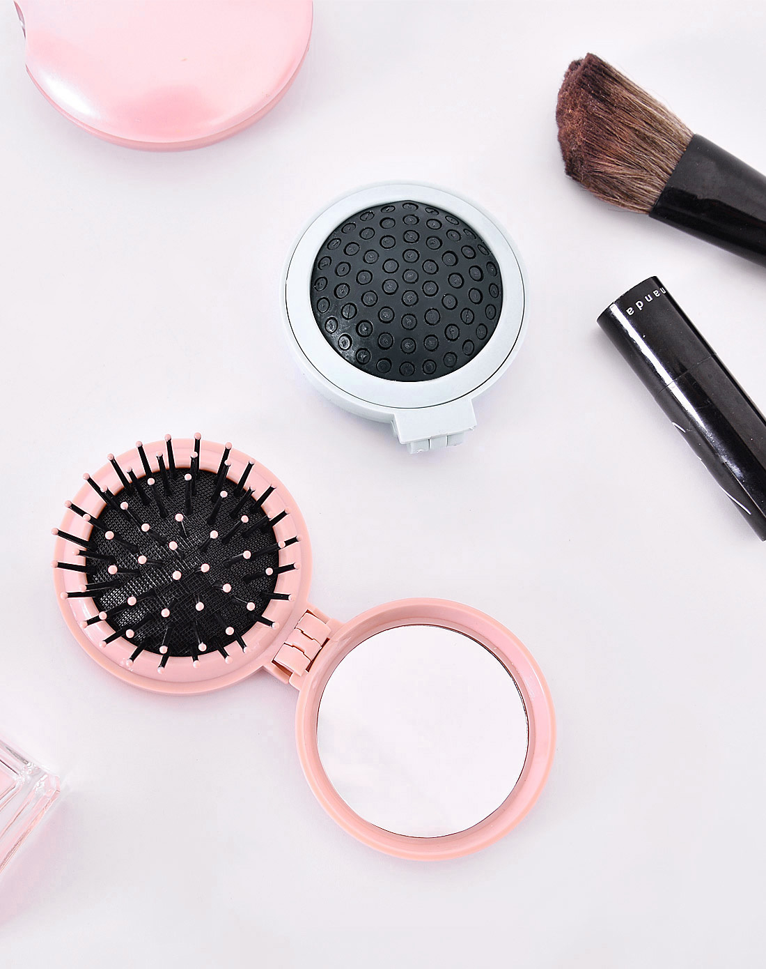 Luxury Massage Hairdressing Princess With Hair Tt Portable Fund Comb Bring Mirror 2 in 1 rainbow comb volume hair brush hairdressing mirror tool travel household necessity