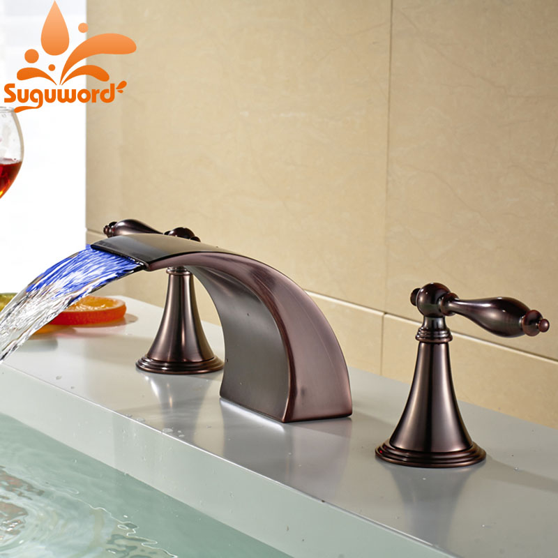 LED Colors Waterfall Spout Basin Faucet 3 Holes Sink Mixer Tap Oil Rubbed Bronze