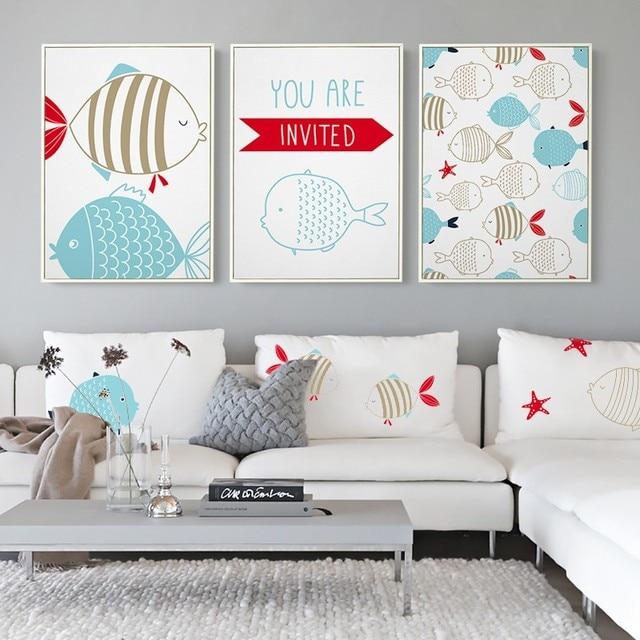 NEW Modern Nordic Cartoon Navigation Fish Print Nursery Wall Art ...