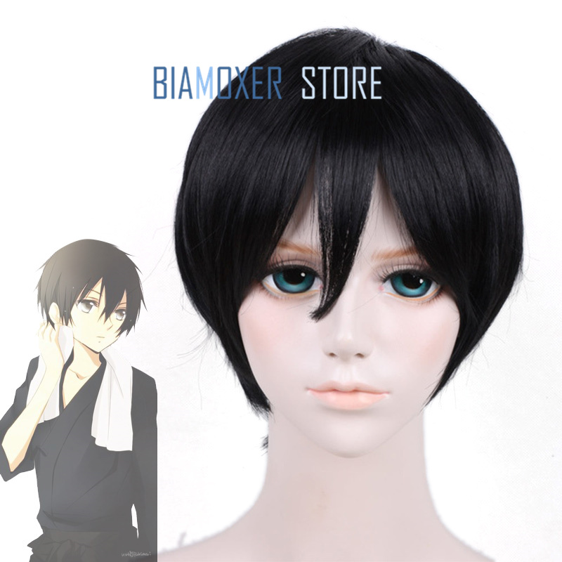 Sword art online Kiroto Cosplay hair wig halloween One piece Luffy cosplay wig for men short black wigs hairpiece costume