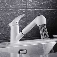 Kitchen Faucets 360 Degree Swivel Pull Out Kitchen Sink Faucet Water Saving Polished W White Basin