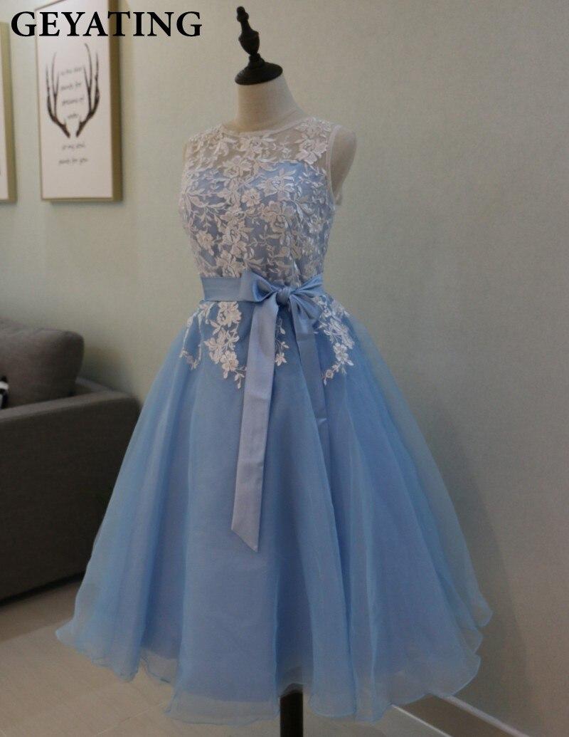 Vintage Tea Length Lace Bridesmaid Dress Appliques Scoop Neck ...