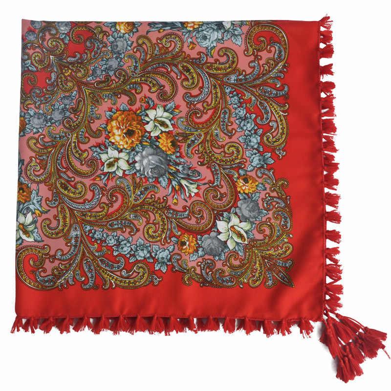 Russische Hot Koop Nationale Stijl Vrouwen Omzoomd Sjaal Hijaabs Squar Sjaal All-Match Hoofdband Bandage Bufanda Vrouw Sjaals 90x90cm