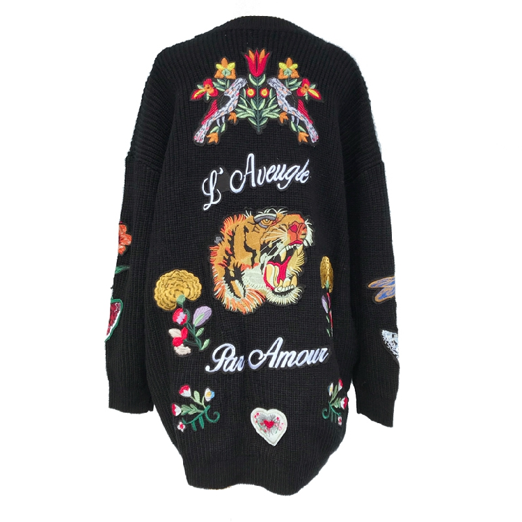 2019 Spring Ladies New Butterfly Bird Tiger Embroidered Cardigan Long Sweater Women Stylish Knitted Floral Sweater Best Price