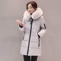 2017 패션 눈 큰 모피 칼라 여성 코트 겨울 코트 여성 파카 긴 두꺼운 슬림 여성 코트 및 재킷 겉옷
